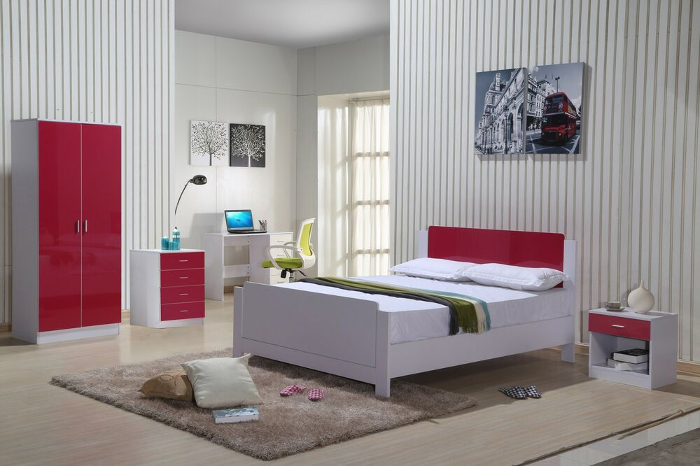 high gloss bedroom furniture set red white wardrobe chest drawers