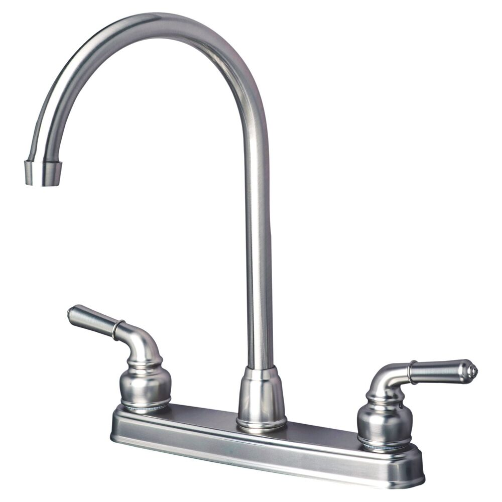 Rv mobile home classic high arc swivel kitchen faucet for Faucet finishes