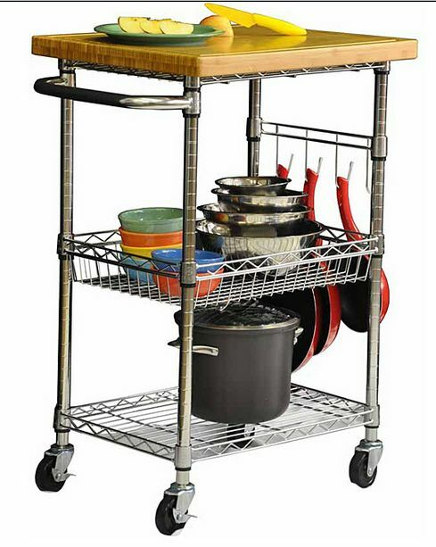 Rolling kitchen utility metal bamboo wood top storage for Kitchen utility cart