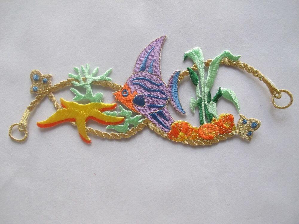 3479 7 3 4 tropical fish coral fishing embroidery iron for Iron in fish