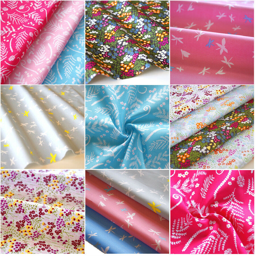 Floral fabric 100 cotton vintage daisy leaf material for Crafts that sell on ebay