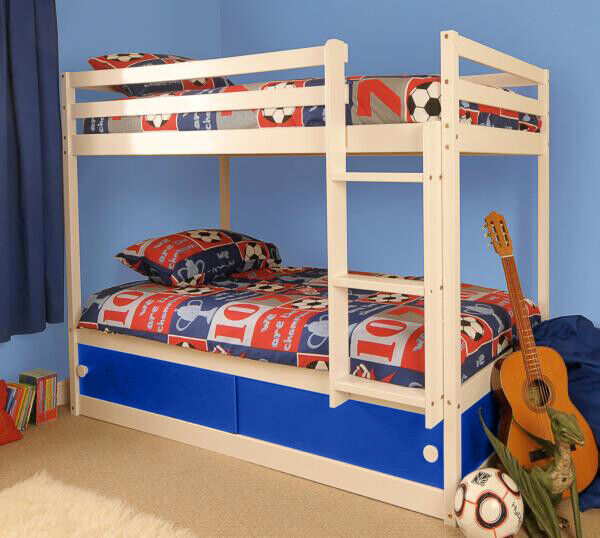 wooden kids childrens white single bunk bed with storage. Black Bedroom Furniture Sets. Home Design Ideas