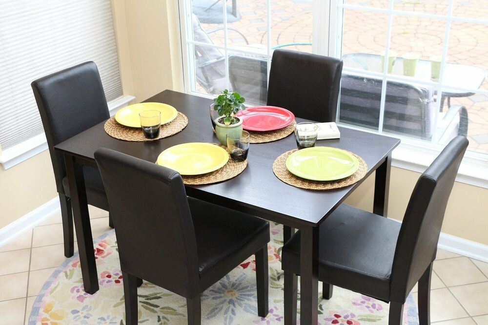 5pc espresso dining room kitchen set table 4 black leather for Leather kitchen table chairs
