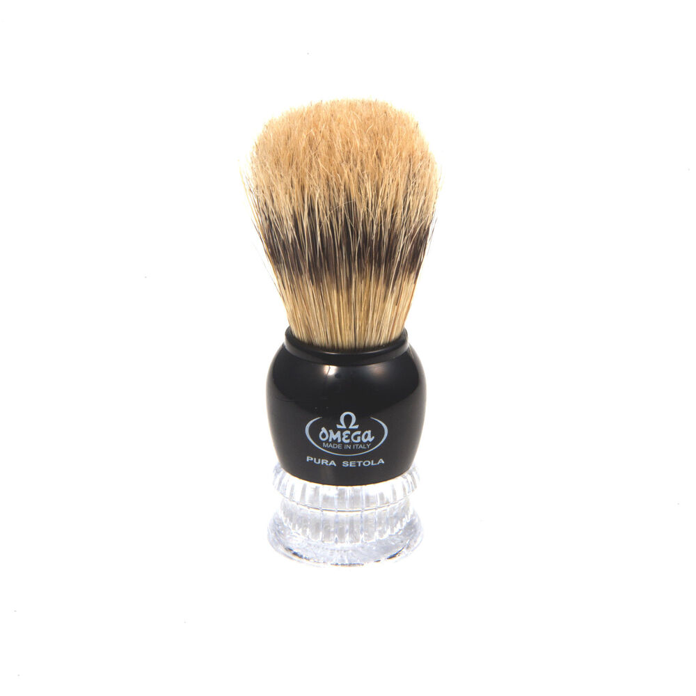 OMEGA SHAVE BRUSH Black/Clear Acrylic Handle Boar Bristle Shaving Brush #10275 | eBay