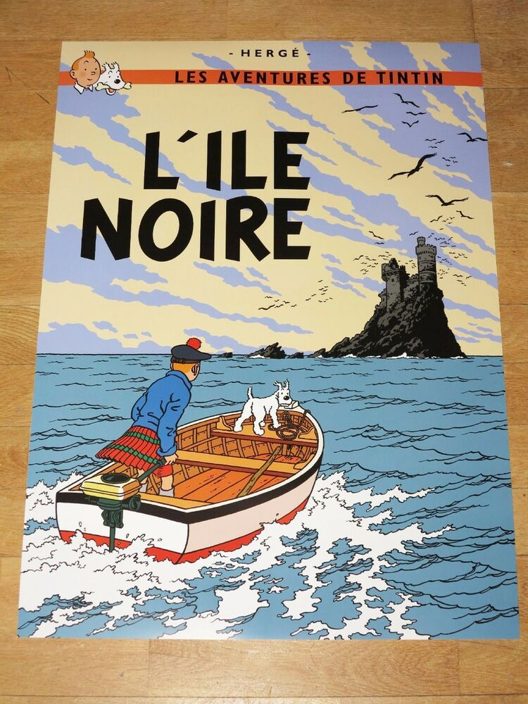 tintin poster gross l ile noire die schwarze insel 70 x 50 cm tim struppi ebay. Black Bedroom Furniture Sets. Home Design Ideas