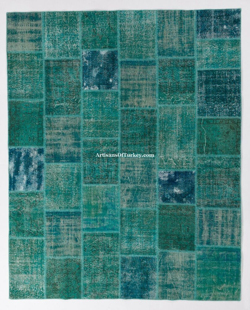 Turquoise Aqua Blue Color PATCHWORK RUG, Handmade From