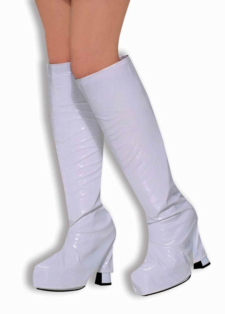 white boot tops top shoe covers vinyl leather costume knee