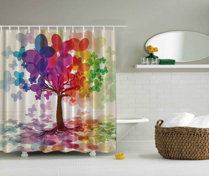 COLORFUL BUTTERFLY FALLING LEAVES TREE PURPLE YELLOW RED Bathroom Shower Curt
