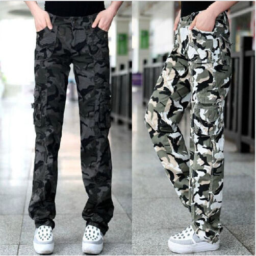 Beautiful Winter Cargo Pants Military Style Women Camo Cargo Slim Pantsin Pants