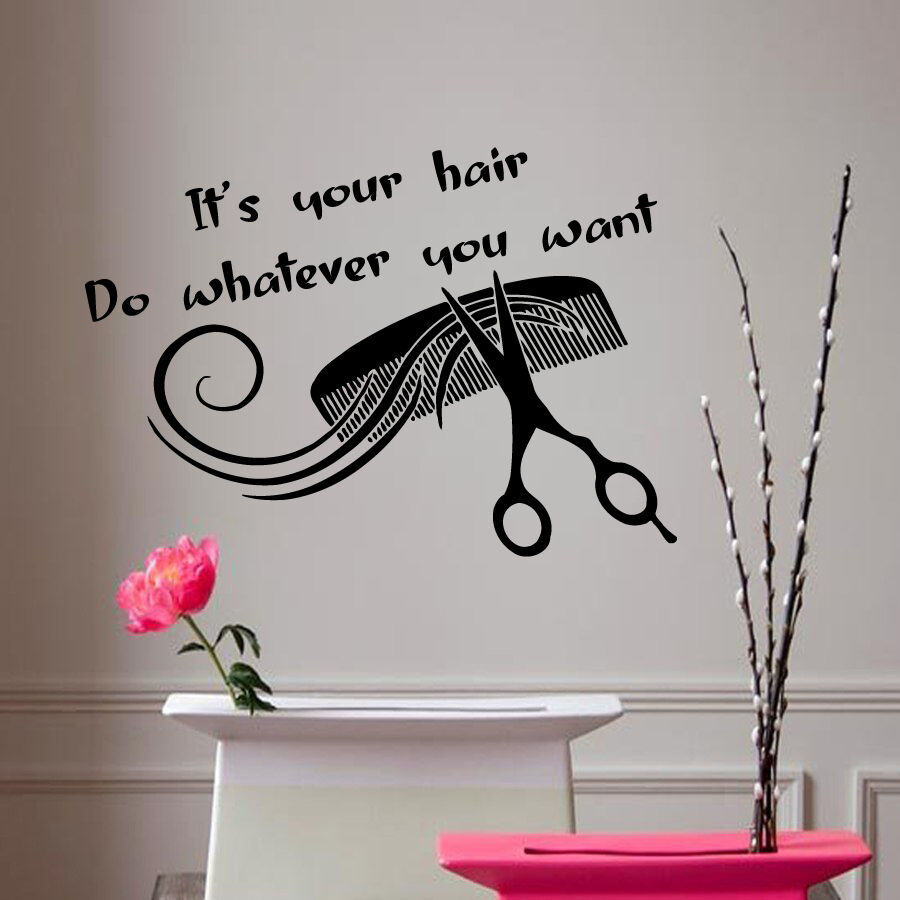 Wall decal quote vinyl stickers hair beauty salon design - Stickers salon design ...