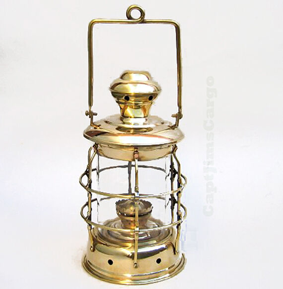 "Brass Ship's Cargo Hold Oil Lantern 14"" Hanging Lamp"