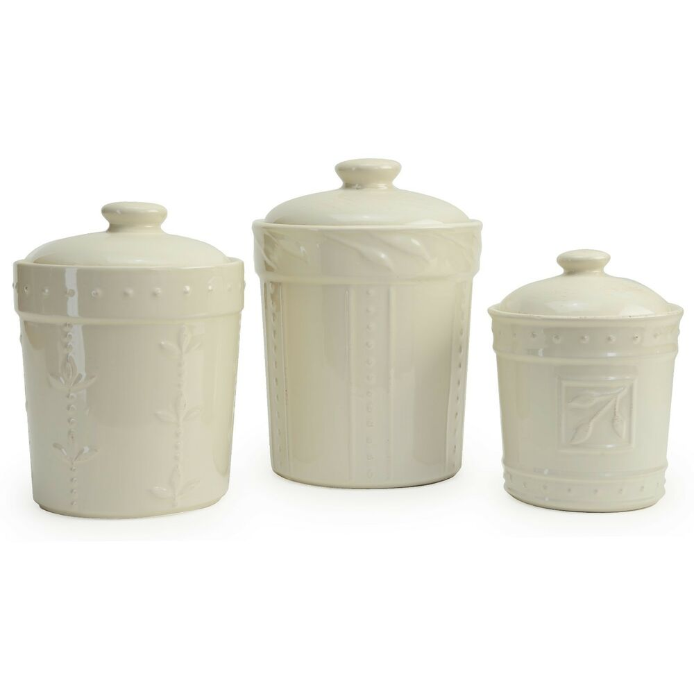 Unusual Kitchen Canisters >> Signature Housewares 3 Piece Sorrento Ceramic Ivory Canister Set | eBay