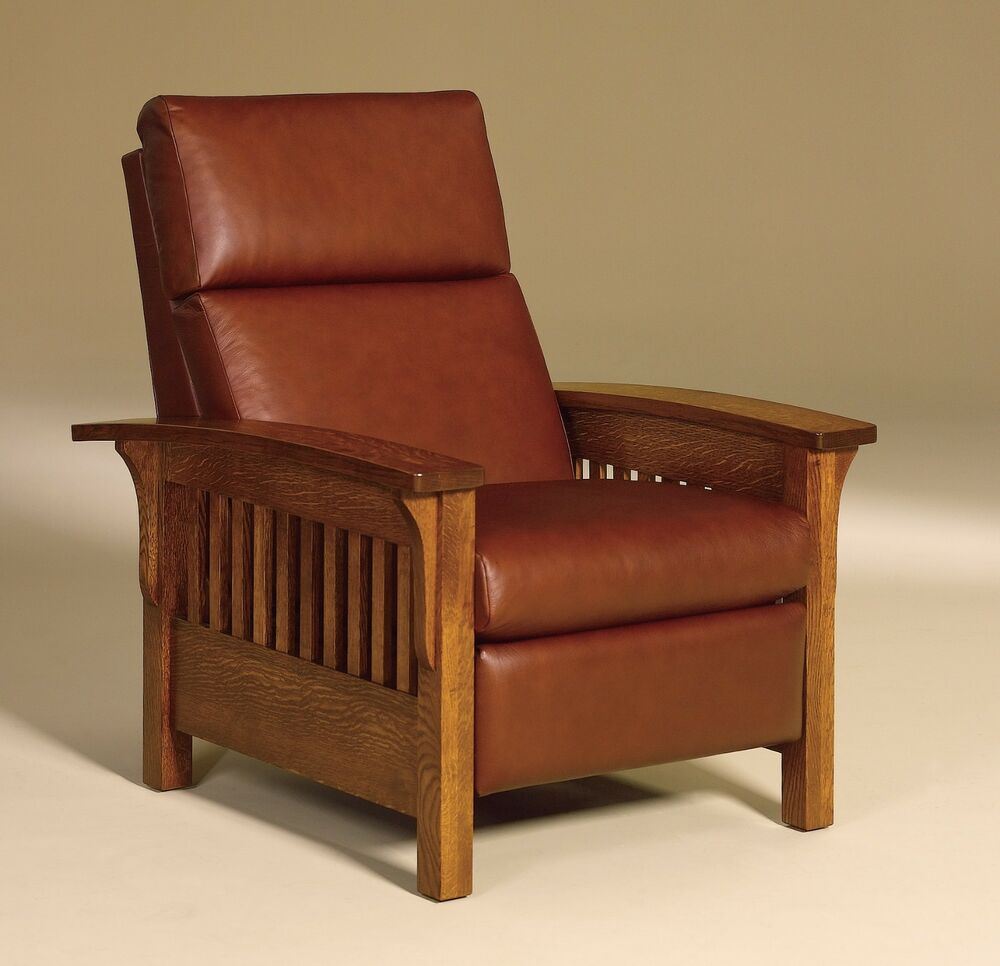 amish mission arts crafts recliner chair heartland slat wood leather