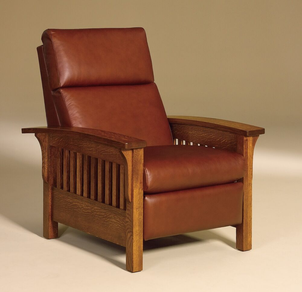 craftsman leather chair amish mission arts crafts recliner chair heartland slat 13570 | s l1000