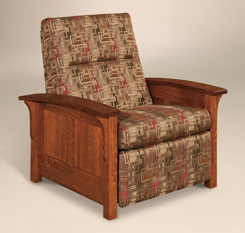 Amish Mission Arts And Crafts Recliner Chair Skyline Panel Solid Wood Upholstery Ebay