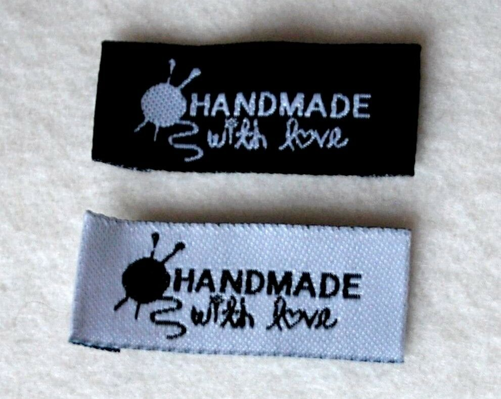 Handmade with love sew in woven labels for knitting or for Sew in craft labels