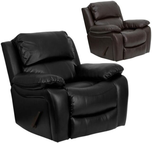 black leather oversized chair large leather rocker recliner arm chair recliners armchair 11220 | s l1000