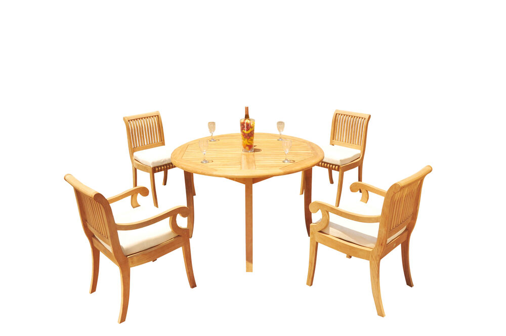 5 pc dining teak set outdoor patio furniture giva arm for Round table outdoor dining sets