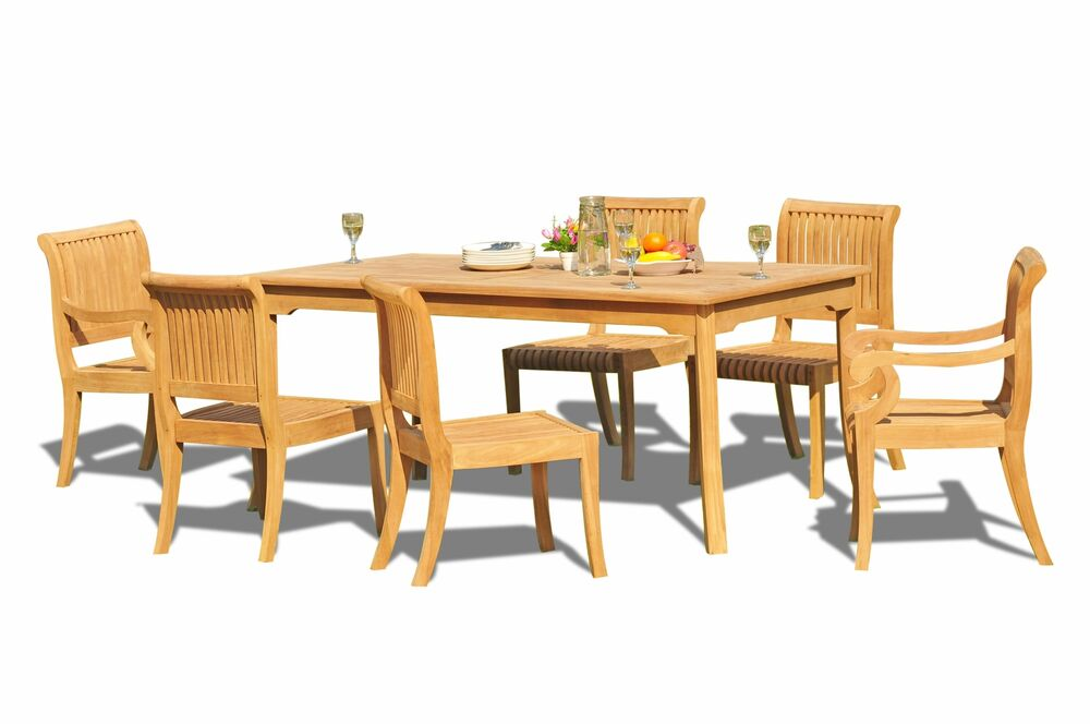7 pc teak dining set garden outdoor patio furniture giva for Outdoor patio dining