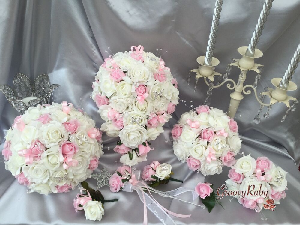 Flower Girl Baskets Bouquets : Wedding flowers butterfly baby pink crystal bouquet