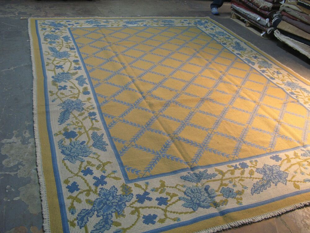 12x12 area rug vintage woven portuguese wool on burlap needlepoint 28846