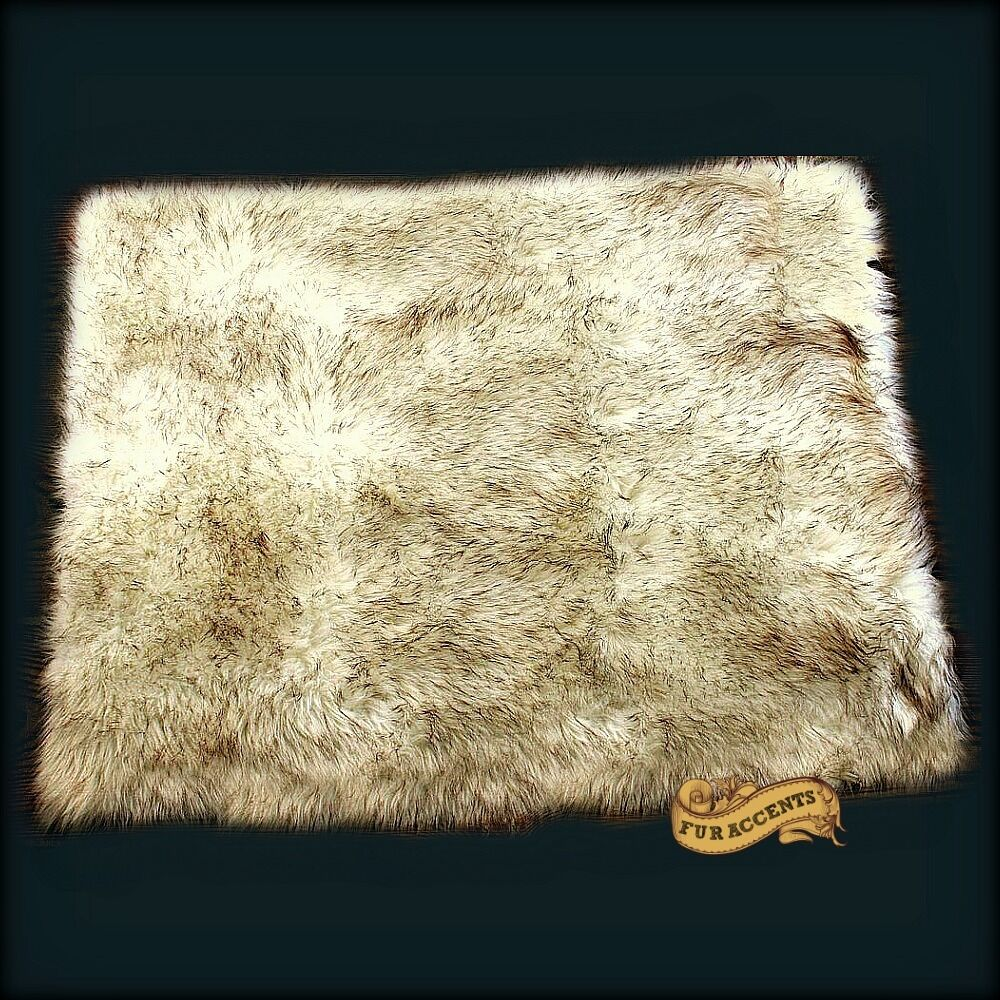 FUR ACCENTS Faux Fur Pelt Rug / Brown Tip Russian Wolf