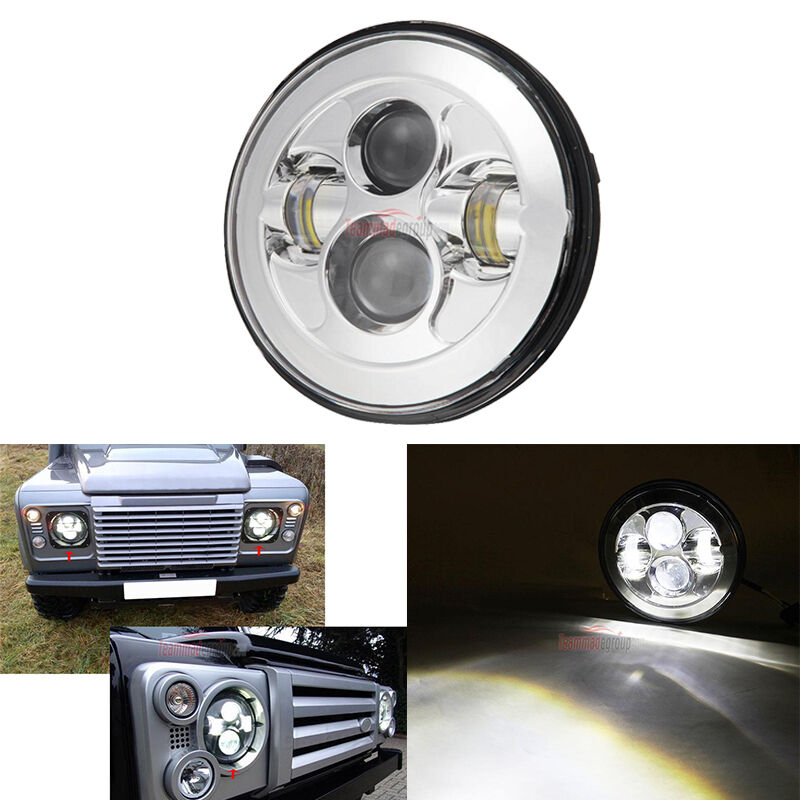"""Fit For Land Rover Defender 90 7"""" Round LED Headlight Lamp"""