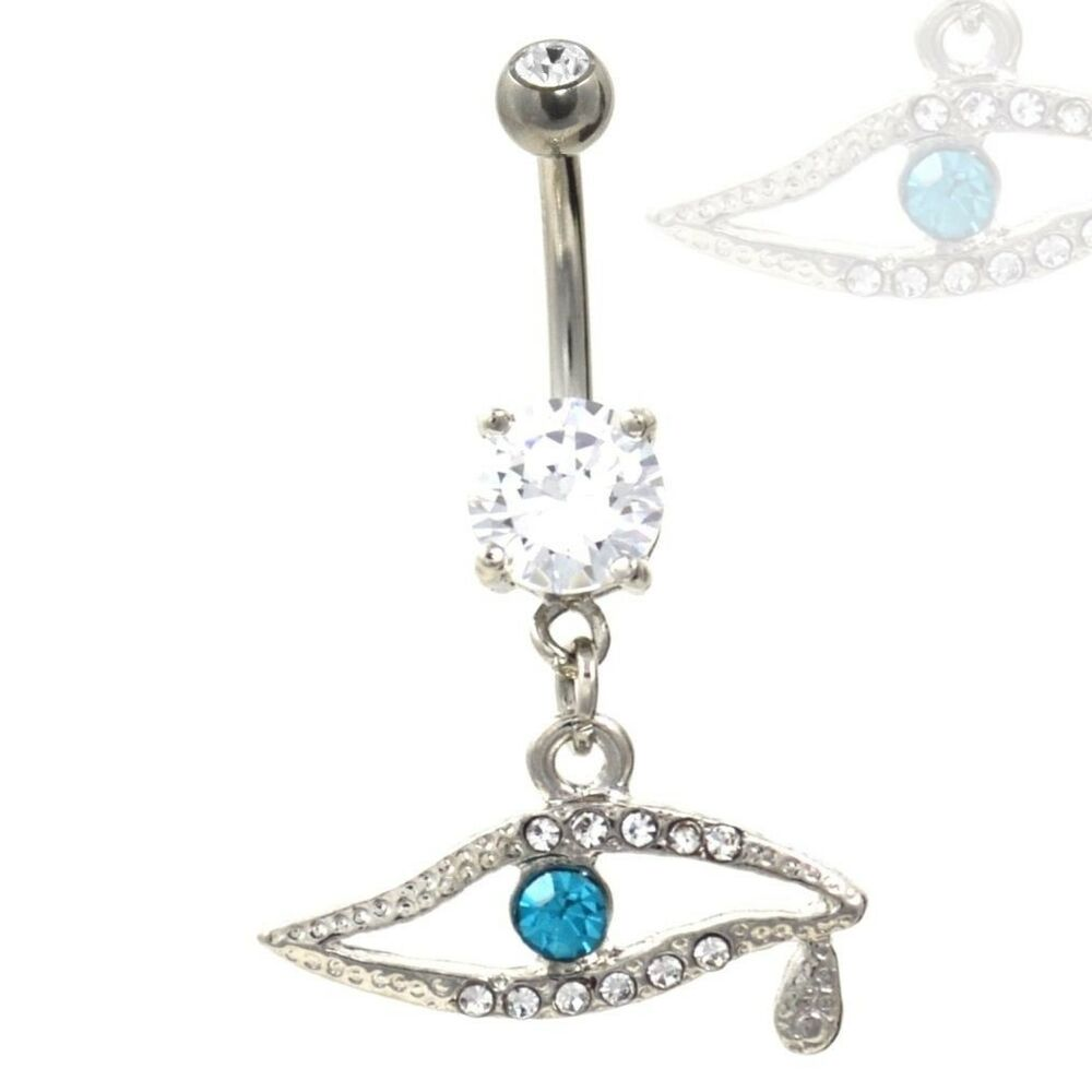 Ancient Evil Eye Belly Ring Bedazzled W Cz Stones Navel Jewelry 14g 3 8 Ebay