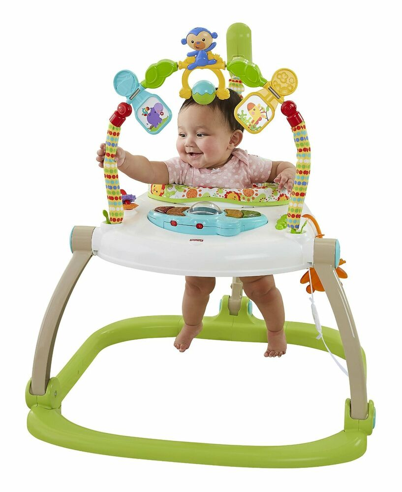 FISHER PRICE RAINFOREST SPACESAVER JUMPEROO BABY BOUNCER CHAIR SEAT JUMPER MUSIC   eBay