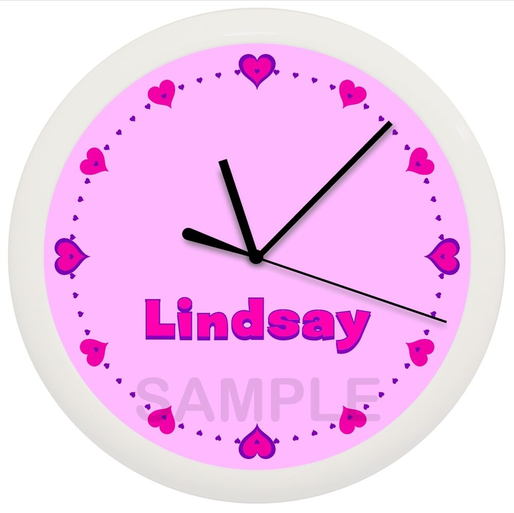 Hot Pink And Purple Hearts Wall Clock Personalized Girls