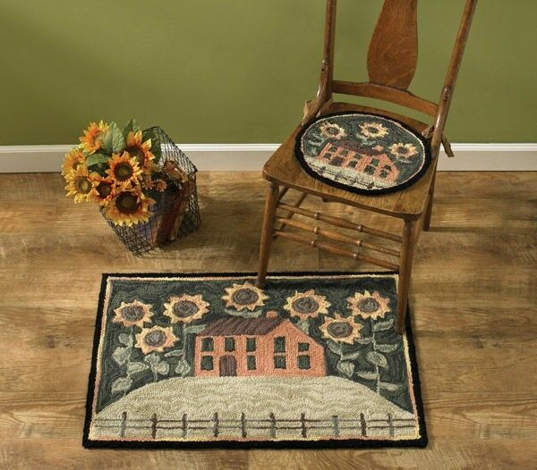 Washable Primitive Rugs: House And Sunflowers Hand-Hooked Rug By Park Designs
