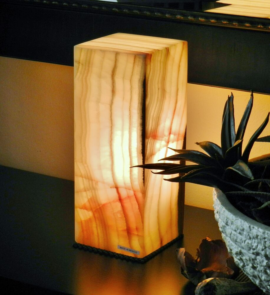 Table Lamp Bedside Nightstand Onyx Alabaster Quartz Stone