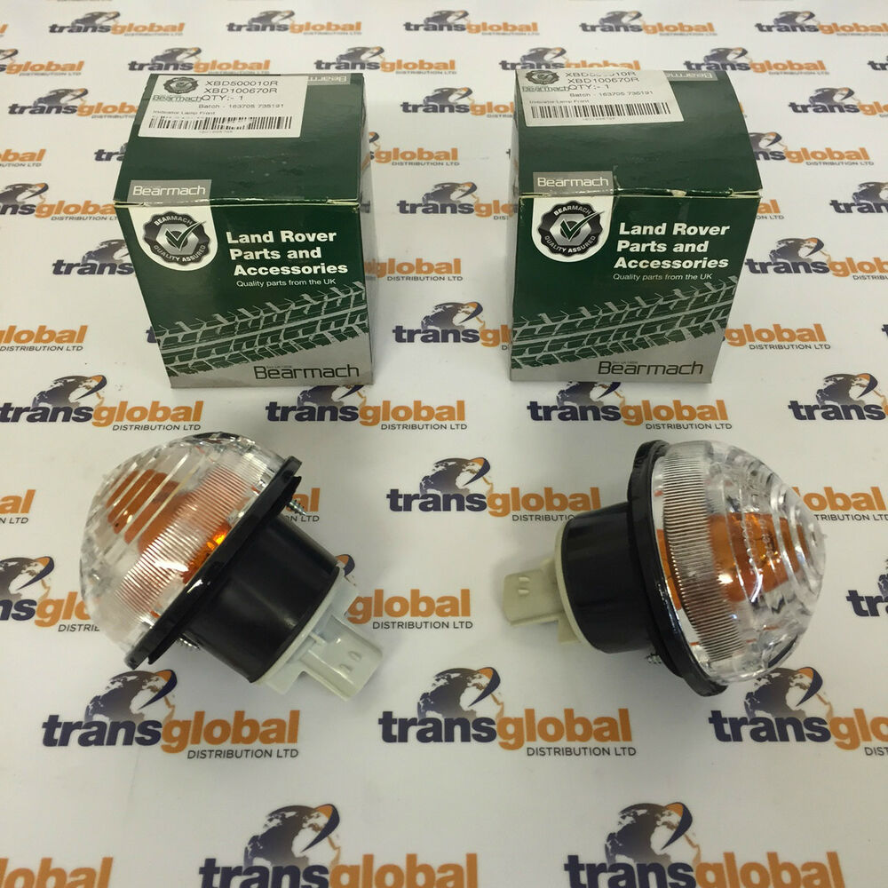 Pair Of Clear Front Indicator Lights For Land Rover: Clear Indicator Lamp Light Unit X2 For Land Rover Defender