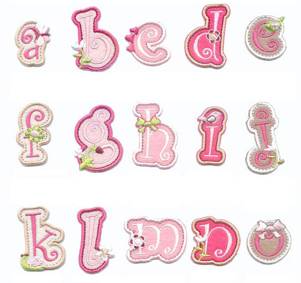 pink iron on letters letters alphabet pink iron on sew on patch applique 24005