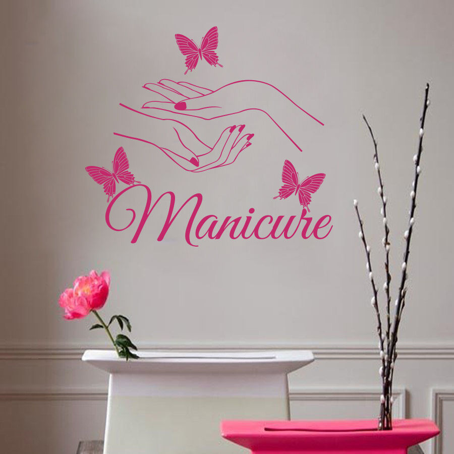 wall decals beauty hair salon nail art manicure vinyl. Black Bedroom Furniture Sets. Home Design Ideas