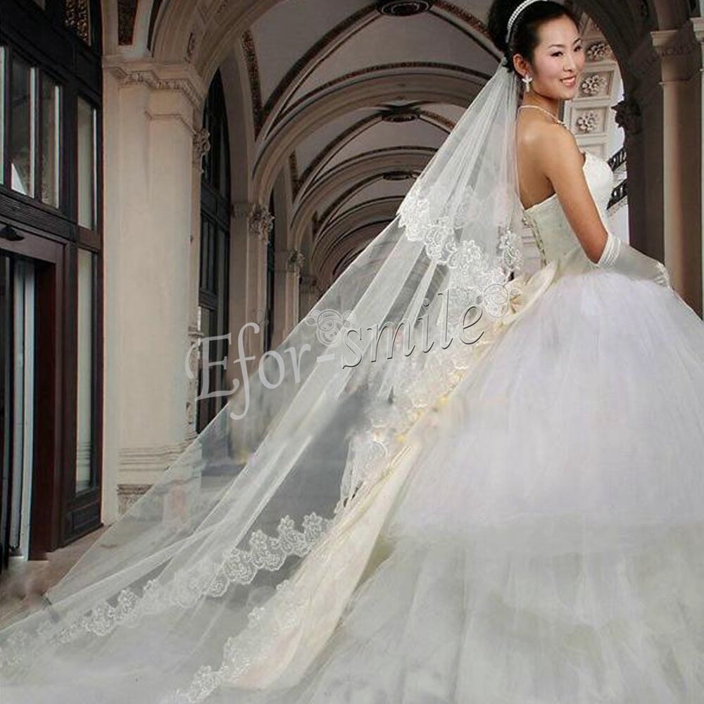 1 Layer White Ivory Cathedral Length Lace Edge Bride