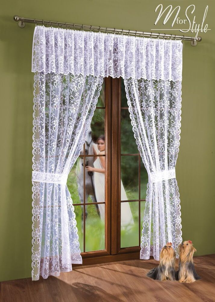 Window Curtain Design Ideas: Net Lace Curtain Window Door Set White With Pelmet Valance