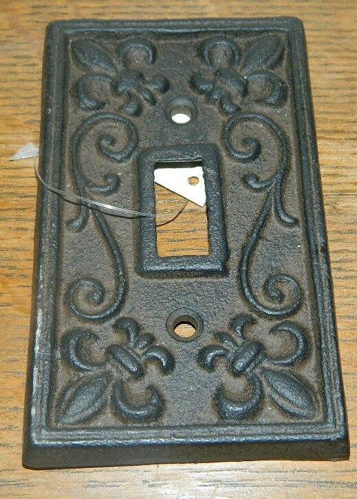 Rustic Cast Iron French Fleur De Lis Electric Light Switch