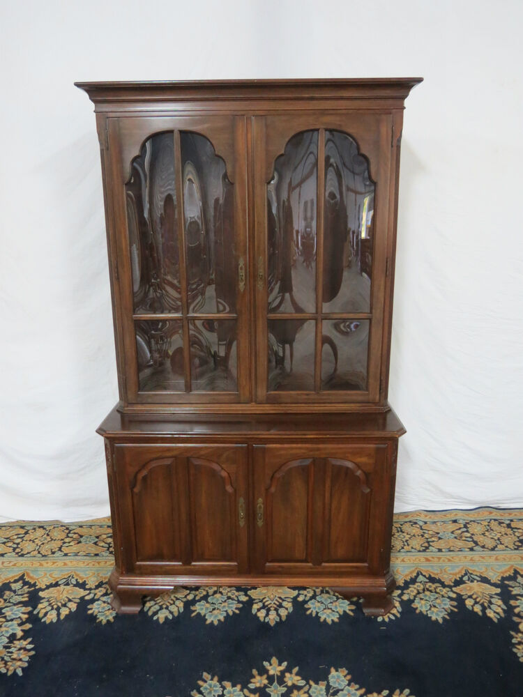 Ethan allen china cabinet hutch bubble glass cherry ebay for China cabinet