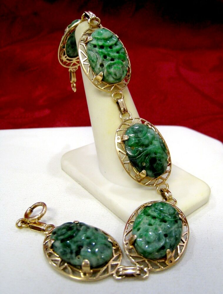 Rare antique chinese 14k yellow gold green jadeite jade for Pictures of jade jewelry