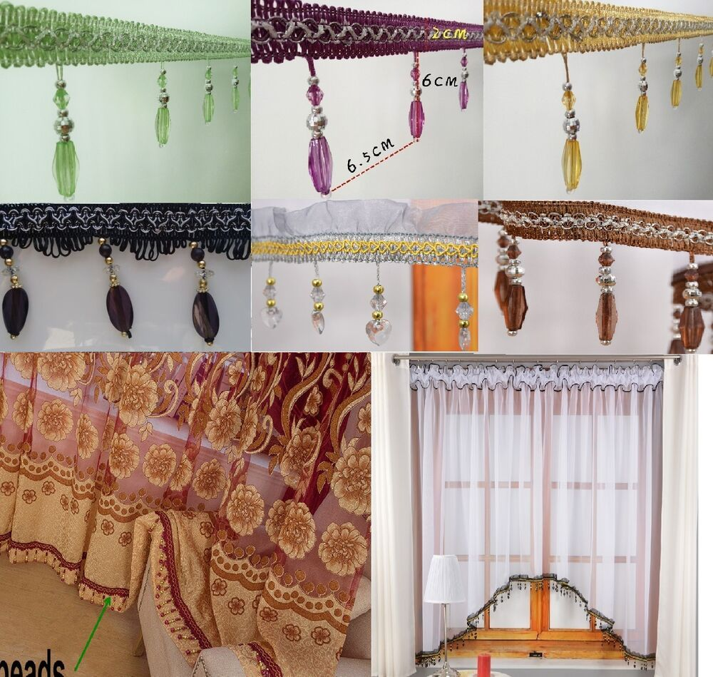 Beaded Tassel Fringe Trim for Curtains Valance Voile Swags Lampshade ...