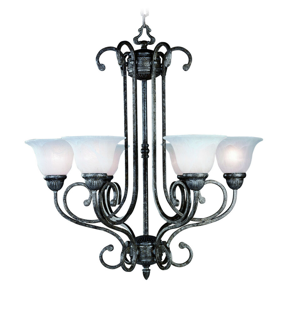 Tuscany Gray Chandelier 6 Lights With Alabaster Glass