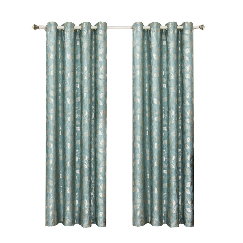 Charlotte Jacquard Grommet Top Curtain Panels Available In 4 Sizes Ebay