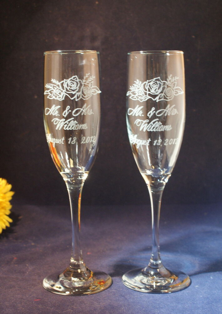 personalized engraved wedding champagne toasting flutes with rose