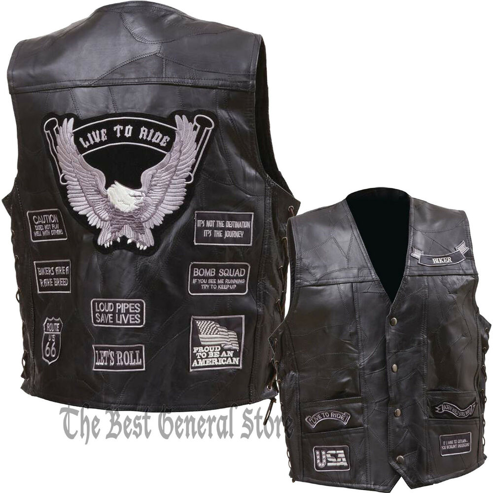 Mens Black Leather Motorcycle Vest Waistcoat With 14 Gray