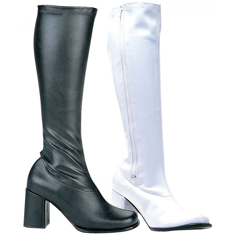 2525af14118d Details about GoGo Boots Adult Womens Chunky High Heel Shoes 60s 70s  Costume Fancy Dress