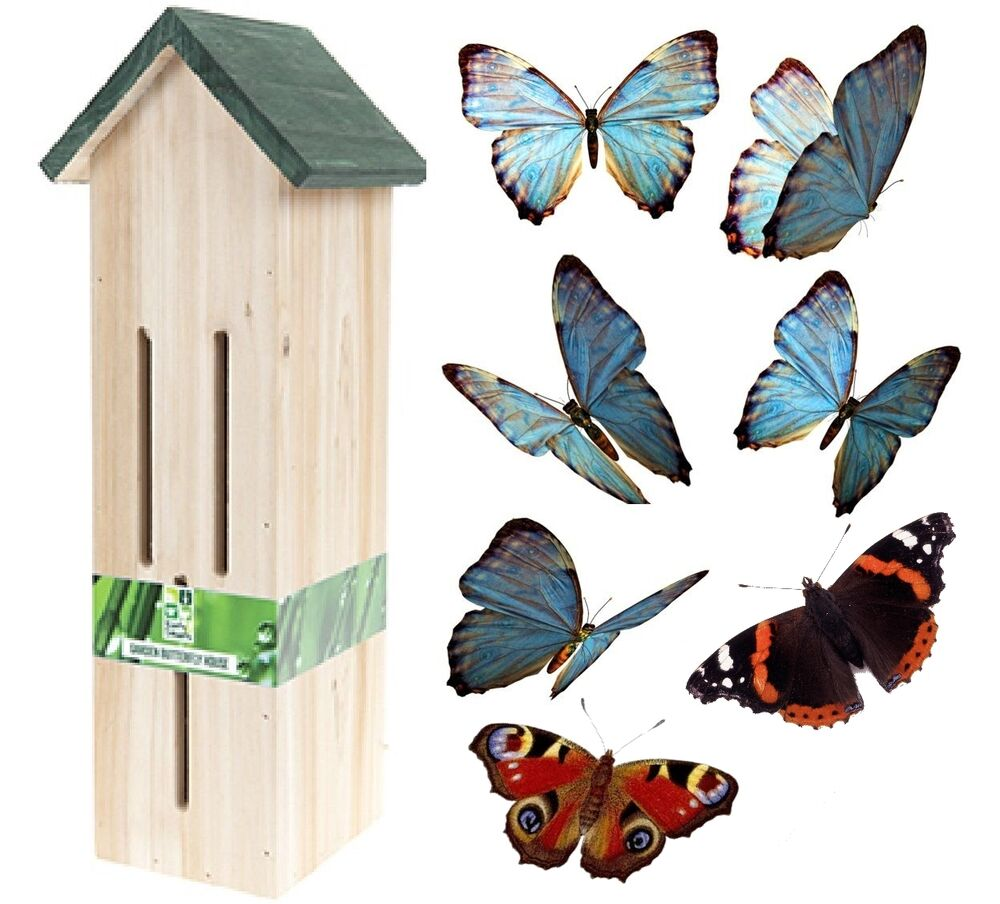 Large 35cm wooden butterfly butterflies house garden for Outdoor butterfly ornaments