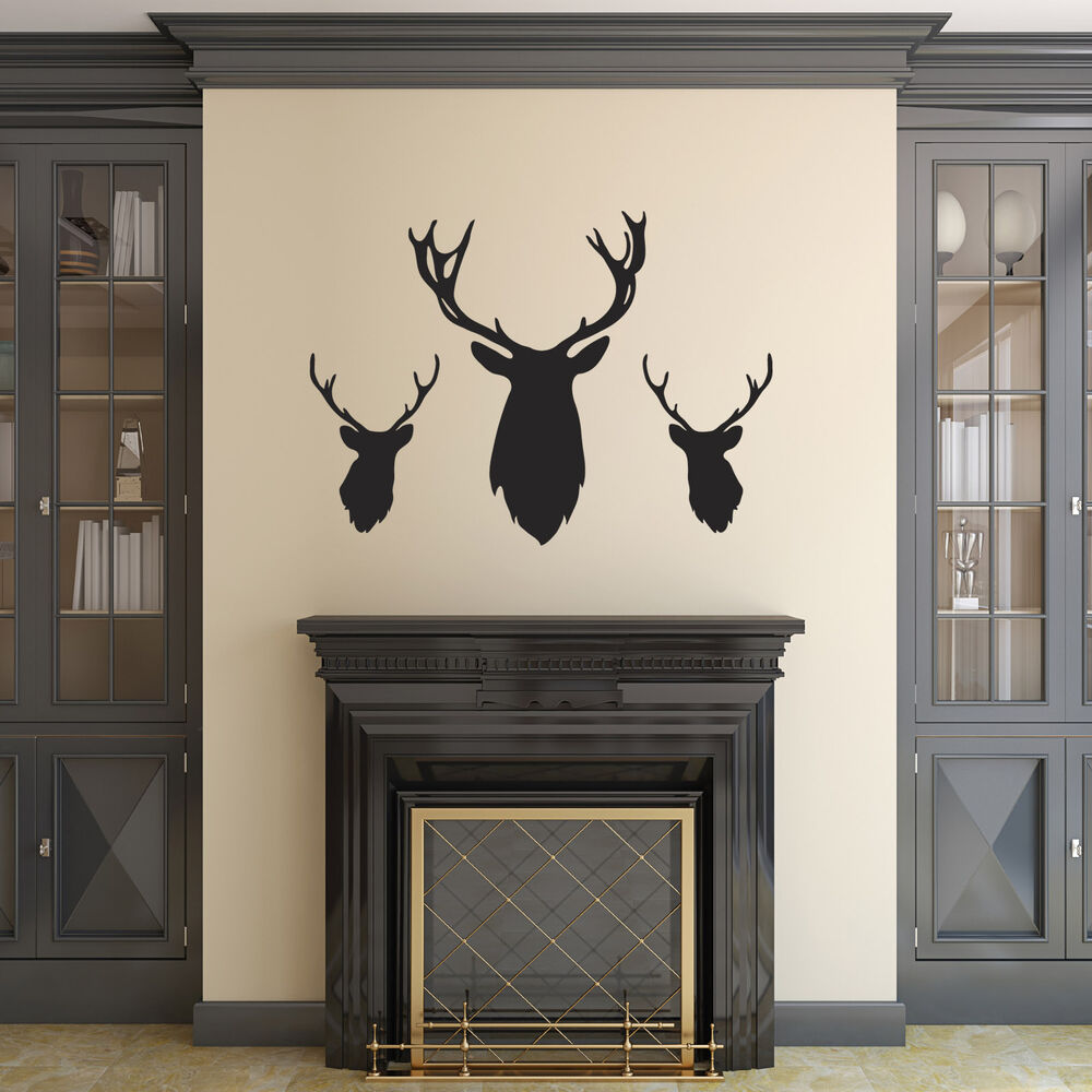 Stag head wall stickers pack of 3 stag deer head silhouette decals ebay - Decorative stags head ...