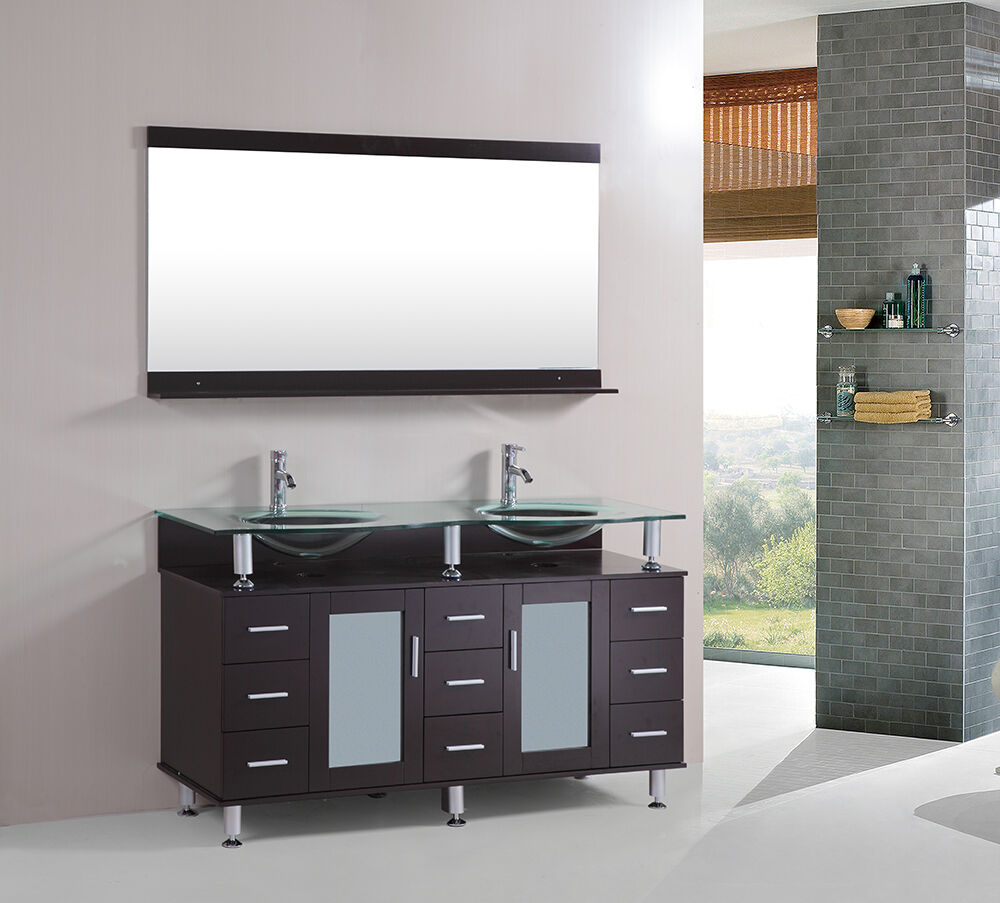 60 inch double tempered glass sink bathroom vanity cabinet for Bathroom cabinets glass