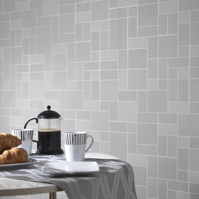 Grey glitter tile wallpaper kitchen and bathroom tiling on for Kitchen and bathroom wallpaper
